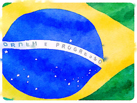 Digital watercolor painting of a close up of a Brazilian flag.