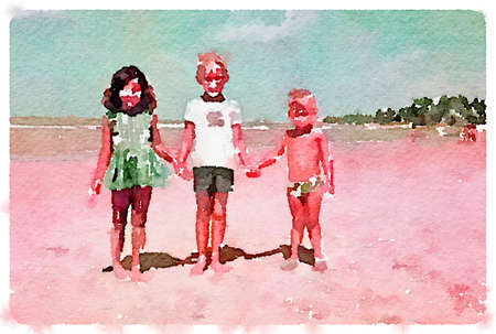 Digital watercolor painting of 3 children holding hands on the beach.
