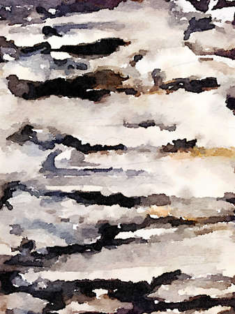 Digital watercolor painting of a black, brown and white painted abstract background. Stok Fotoğraf