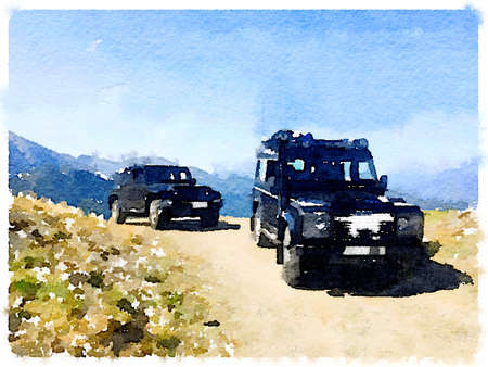 Digital watercolor painting of two 4x4 vehicles on top of a mountain. With space for text. Stok Fotoğraf