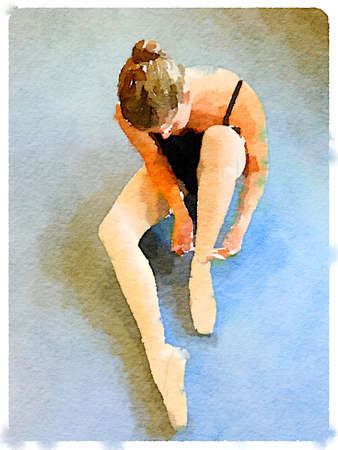 pointe shoe: Digital watercolor painting of a ballerina sitting on the floor and putting on her pointe ballet shoes tying the ribbons on her shoe. Stock Photo