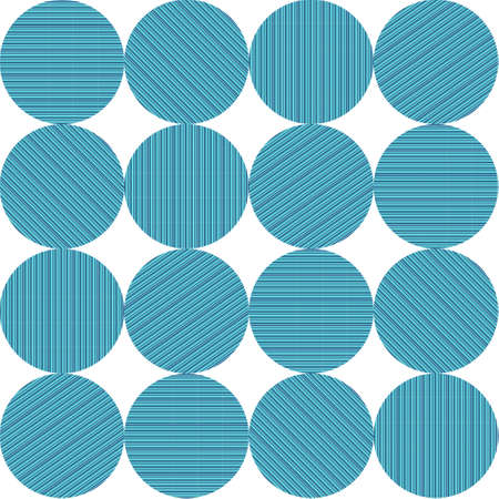 Circles with blue, turquoise and green stripes in a pattern. Çizim
