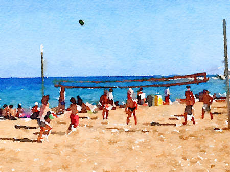 Digital watercolor painting of people playing volleyball on the beach with the sea in the background. With space for text.