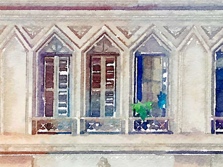 Digital watercolor painting of windows in Brazil. Three windows with shutters and plants on the ledge. Stone rectangular windows with triangular tops.
