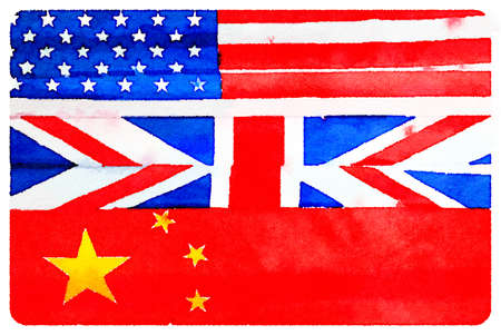 Digital watercolor painting of American, British and Chinese flags arranged in order to show order of countries winning the games. America first with gold, United Kingdom second with silver and China third with bronze.