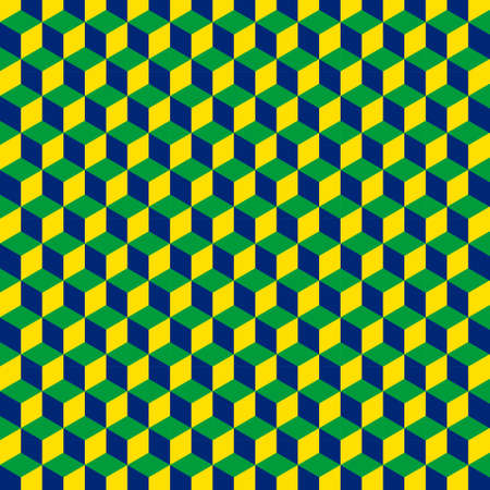 A geometric pattern with cubes that are the patriotic colors of the Brazilian flag. Can be used as a background for games in Brazil. Vector. Çizim