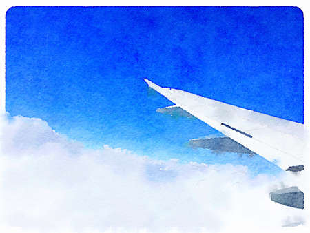 Digital watercolor painting background of white clouds and an airplane wing in the blue sky with space for text. Stok Fotoğraf