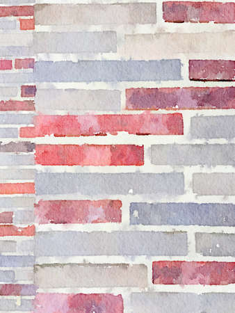 Digital watercolour painting of 2 sizes of brickwork in red, grey and beige. Can be used as a background and with space for text. Stok Fotoğraf