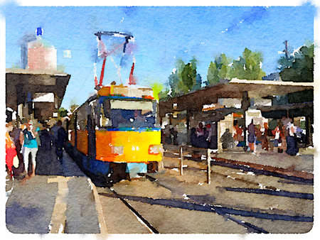 A digital watercolour painting of a German tram at a stop with passengers waiting. Stok Fotoğraf