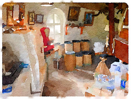 Digital watercolour painting of the inside of a windmill showing tubs with flour and scales.