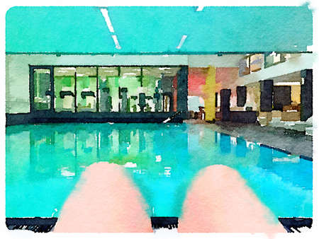 Digital watercolour painting of legs by a pool with a gym in the background.
