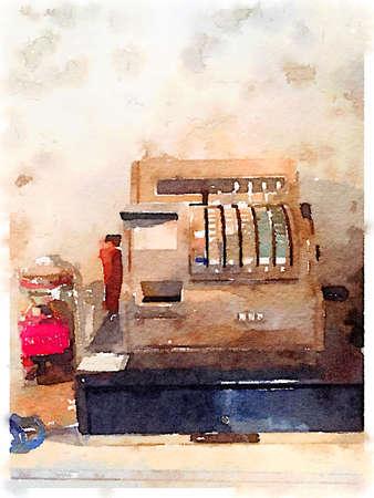 Digital watercolour painting of an old cash register. Stok Fotoğraf