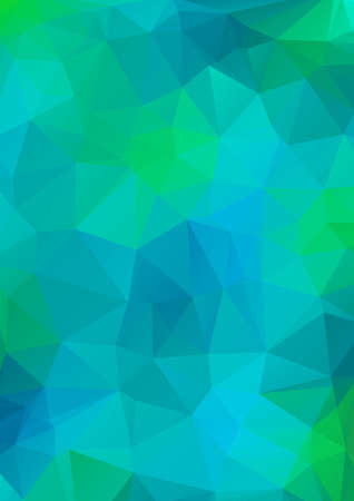 Blue and green light Polygonal Mosaic Background.