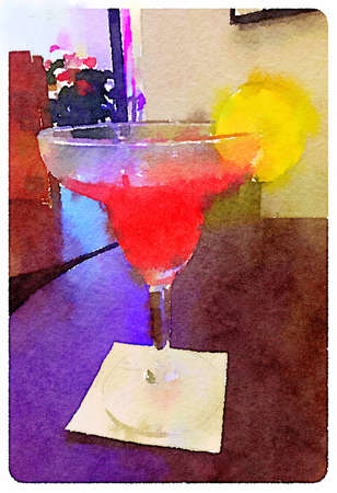 Digital watercolour painting of a cosmopolitan cocktail in a decorative glass with a slice of lime on the rim on a table in a bar. Stok Fotoğraf