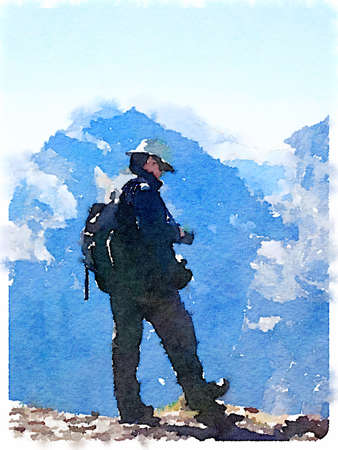 Digital watercolor painting of a man with a hat and a rucksack wearing boots at the top of a mountain, with more peaks in the distance.