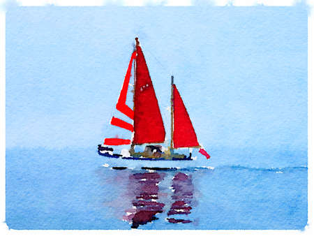 ketch: A digital watercolor painting of a sailing boat at sea with its sails up and with space for text.
