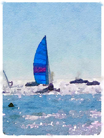 A digital watercolor painting of a sailing boat at sea with its sails up and with other boats around. Space for text. Portrait.