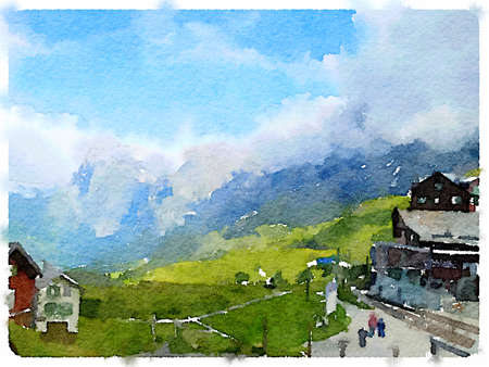 Digital watercolor painting of chalets in the mountains in Switzerland. With space for text.
