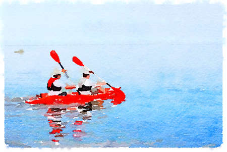 Digital watercolor painting of two men rowing in a kayak on a lake. With space for text.