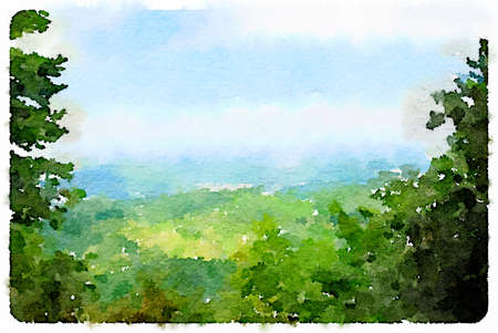 Digital watercolor painting of the picturesque British countryside with green trees, hills and blue sky. With space for text.