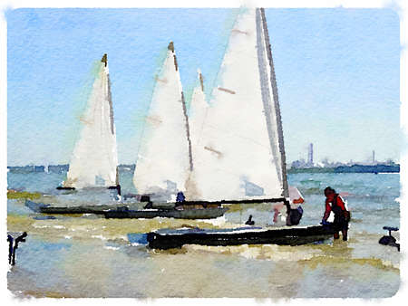 dinghies: Digital watercolor painting of small white sailing boats in shallow water with people in the water getting them ready to sail Stock Photo