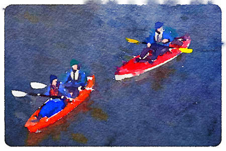 Digital watercolor painting of two canoes, one with a man and a woman and one with one man rowing on a lake. With space for text. Imagens