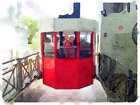 Digital watercolor painting of a red cable car leaving the terminal with people inside.