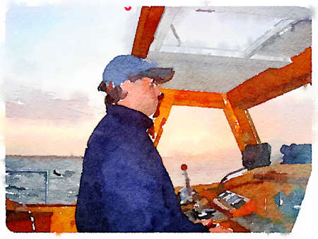 Digital watercolor painting of a man wearing sun glasses steering a yacht. With the horizon in the background and space for text. Imagens