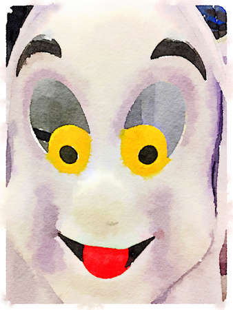 Digital watercolor painting of a friendly ghost.