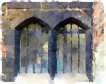 Digital watercolor painting of an old double window in the Cathedral in Gloucester in the UK. The windows are surrounded by black bricks and have bars. Imagens