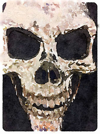 Digital watercolor painting of a skull.