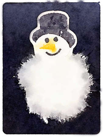 Digital watercolor painting of a fluffy snowman with a carrot nose and a hat with a dark background and space for text.