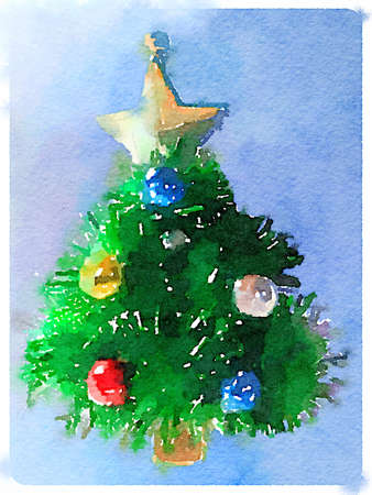 Digital watercolor painting of a decorated Christmas tree with a gold star on top and a light blue background and space for text.