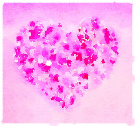 Digital watercolor painting of a heart in a range of pinks and reds. Space for text. Imagens