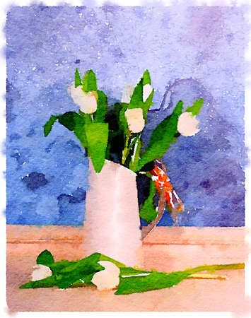 Digital watercolor painting of white tulips arranged in a white jug with raffia on the handle with a blue textured background with space for text.