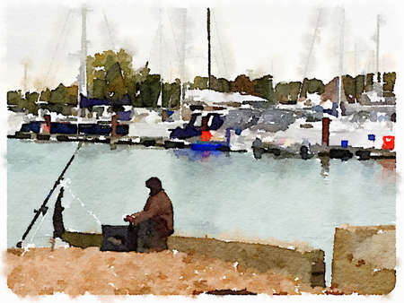 Digital watercolor painting of a man fishing from a public hard with yachts in a marina in the background. Picture taken on a cold cloudy winter's day. Space for text. Imagens