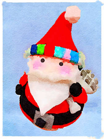 Digital watercolor painting of a Christmas Santa Claus wearing a hat and carrying a sack with presents on a light blue background. With space for text. Imagens