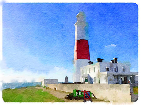 Digital watercolor painting of the lighthouse at Portland Bill completed in 1906 to keep shipping away from the nearby cliffs and rocks. Space for text.