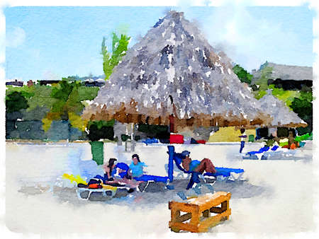 Digital watercolor painting of people sitting on lounger seats at the seaside under a thatched beach parasol. With space for text. Imagens
