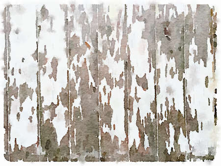 Digital watercolor painting of a white wooden background with peeling paint. Space for text.