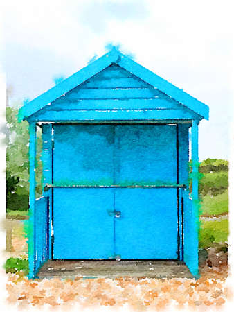 Digital watercolor painting of a blue beach hut with its doors closed. Could be closed for winter. Imagens