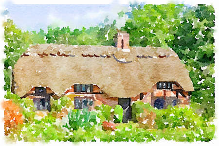 Digital watercolor painting of a lovely picture postcard quintessentially English thatched cottage in the New Forest in the UK on a sunny day. Picture taken from a public place.