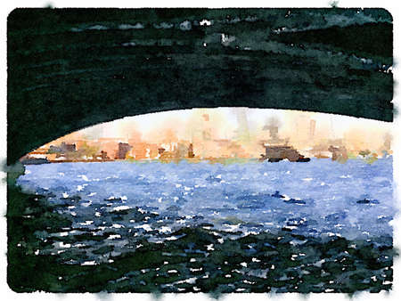 Digital watercolor painting of the London skyline viewed from under a bridge over the river. Space for text.