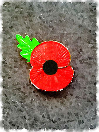 Digital watercolor painting of a poppy badge. Lest we forget. Poppy worn for Remembrance Sunday. Space for text.