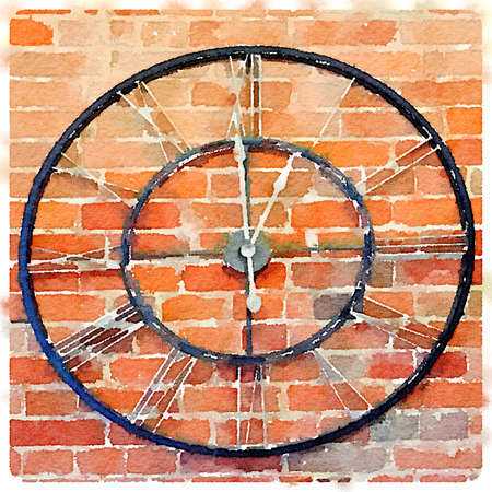 Digital watercolor painting of a black clock with Roman numbers against a red brick wall.