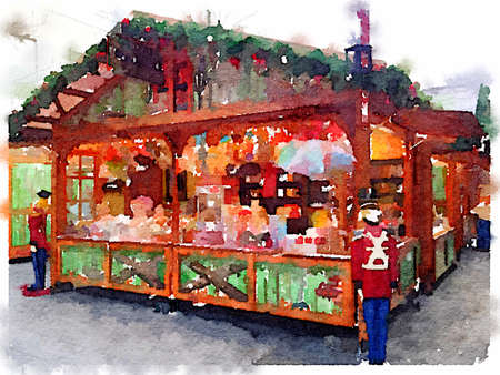 Digital watercolor painting of a colorful candy Chalet stand on a German Christmas Market in Southampton on an overcast winters day. Space for text.