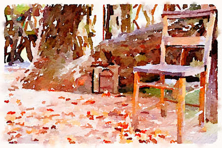 Digital watercolor painting of a fairy door in a tree trunk with a full size chair next to it and leaves on the wooden floor in front of the entrance. With space for text.