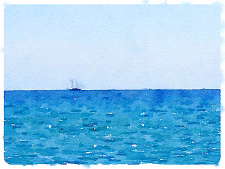 Digital watercolor painting of a sailing boat at sea with space for text. Imagens