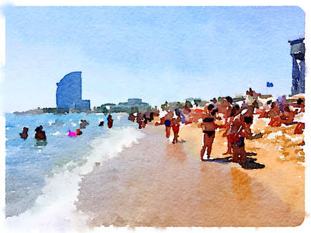 Digital watercolor painting of people on the sandy beach and in the water in Barcelona Spain on a sunny day with space for text. Sunbathers and swimmers enjoying the sunshine at the seaside.