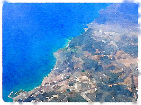 Digital watercolor painting of the Spanish coastline taken from the air. With space for text.